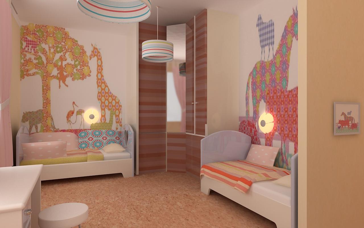 Дизайн детской комнаты для девочки и близнецов.